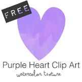 FREE Purple Watercolor Heart Clip Art
