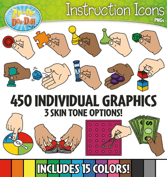 FREE Q-Tip Supply Hands Instruction Icons Clipart {Zip-A-Dee-Doo-Dah Designs}