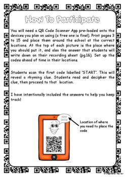 FREE QR Code Around the School Scavenger Hunt