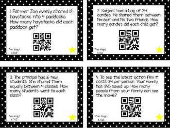 QR Code Division Word Problem Task Cards