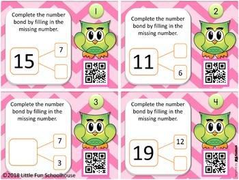 FREE Owl Qr Code Task Cards Number Bonds to 20