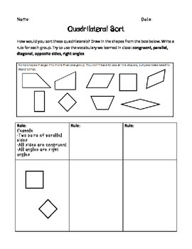 FREE! Quadrilateral Sort