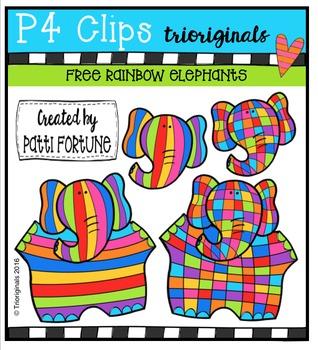 FREE  RAINBOW Elephants {P4 Clips Triorignals Digital Clipart}