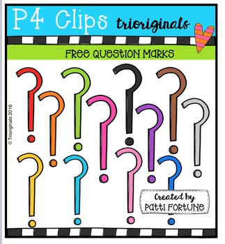 FREE  RAINBOW Question marks {P4 Clips Triorignals Digital Clipart}