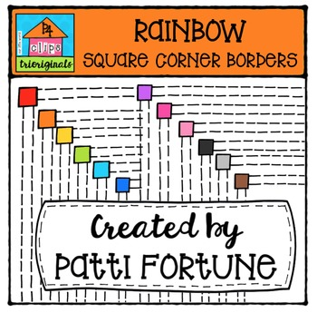 FREE RAINBOW Square Borders {P4 Clips Triorignals Digital Clipart}