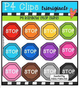 FREE  RAINBOW Stop Signs {P4 Clips Triorignals Digital Clipart}