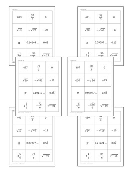 Algebra 2: Real Numbers Sort and Match Activity *FREEBIE*