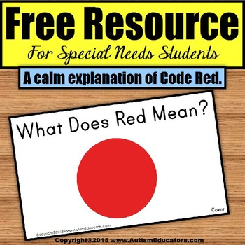 FREE RESOURCE Social Story Code Red – A Calm Explanation For Special Needs