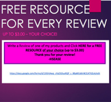 FREE RESOURCE with every review of a purchased product