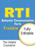 FREE RTI Behavior Documentation: Intervention & Progress Monitoring Form