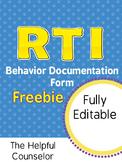FREE RTI Behavior Documentation: Intervention & Progress Monitoring Form