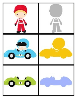 FREE Race Car Silhouette Matching Game!