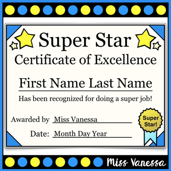 Super Star Award Certificates
