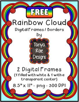 FREE Rainbow Cloud Digital Frames / Borders