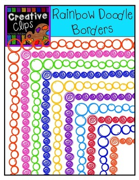 {FREE} Rainbow Doodle Borders {Creative Clips Digital Clipart}
