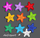 FREE!!!  Rainbow Funny starfish Clipart.