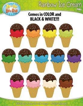 FREE Rainbow Ice Cream Clipart {Zip-A-Dee-Doo-Dah Designs}