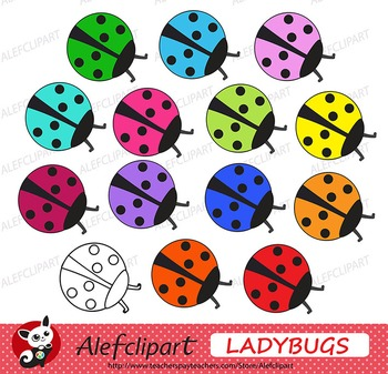 FREE!!!  Rainbow Ladybugs Digital Clipart Creative Clips