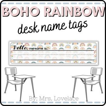 **FREE** Rainbow Name Tags for Desk - Printable