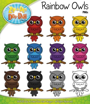 FREE Rainbow Owls Clipart {Zip-A-Dee-Doo-Dah Designs}