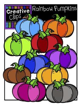 {FREE} Rainbow Pumpkins {Creative Clips Digital Clipart}