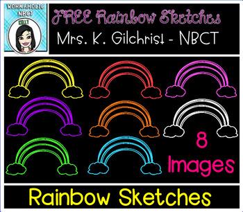 (FREE) Rainbow Sketches Clip Art