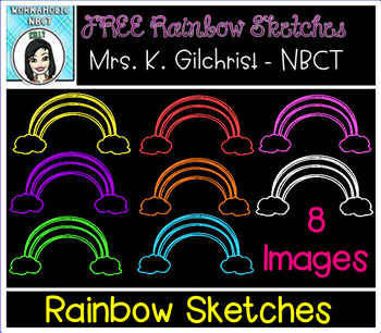 Free Rainbow Sketches Clip Art By Workaholic Nbct Tpt