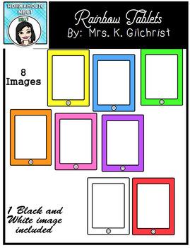FREE Rainbow Tablets Clip Art Set