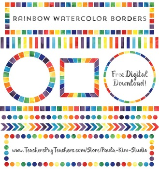 FREE Rainbow Watercolor Border Clip Art