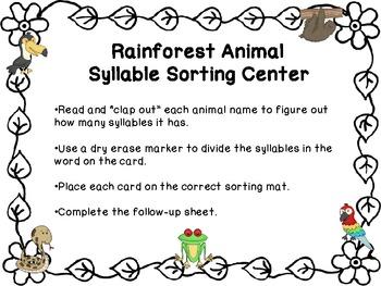 FREE Rainforest Animal Syllable Sorting Center