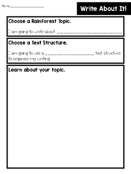 FREE Rainforest Text Structure Writing (Extension Activity to EL EDU Module 2)