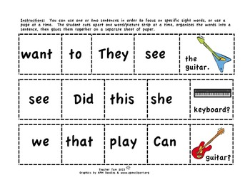 FREE Read Like a Rock Star!  Cut-and-Glue Sight Word Sentences for Kindergarten