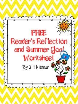 FREE Reader's Reflection and Summer Goal Worksheet