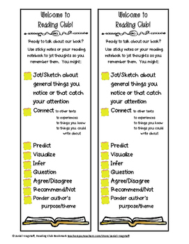 FREE! Reading Club Literature Circle Bookmark With Reading Response Suggestions