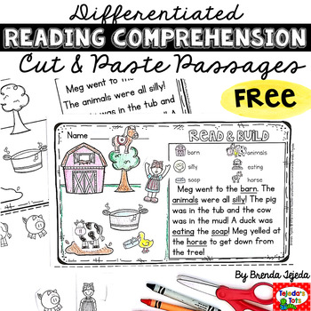 FREE Reading Comprehension Cut & Paste Passage