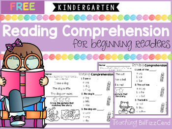 FREE Kindergarten Reading Comprehension for Beginning Readers (Multiple Choice)