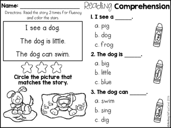 Kindergarten Reading Comprehension for Beginning Readers (Multiple ...