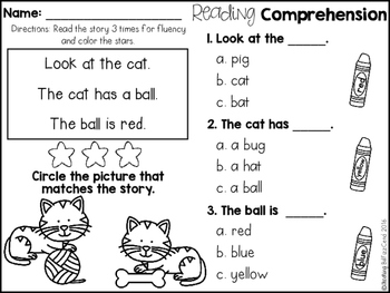 free kindergarten reading comprehension for beginning readers  free kindergarten reading comprehension for beginning readers multiple  choice