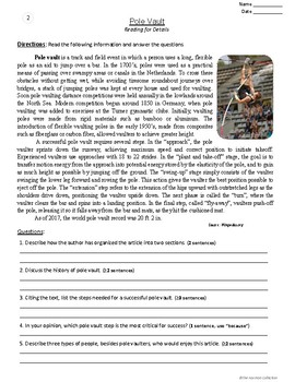 "FREE - Reading Comprehension Passages and Questions | ""Pole Vault"" (Gr. 3-7)"