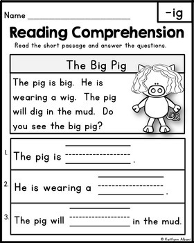 FREE Reading Comprehension Passages - Word Families & Blends