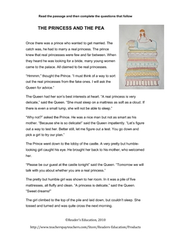FREE Reading Comprehension - The Princess and the Pea