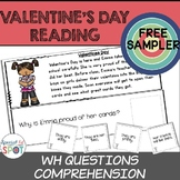 FREE Reading Comprehension: WH Questions VALENTINES DAY (S