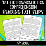 FREE Reading Exit Slips | 5th Grade Fiction and Nonfiction Comprehension