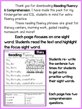 FREE Reading Fluency and Comprehension (Set 2)