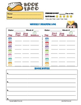 graphic regarding Weekly Reading Log Printable titled Cost-free Looking through Log Day by day Weekly Regular Worksheets In addition Guide Notes Printable