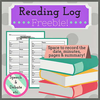 FREE Reading Log for ALL Subjects!