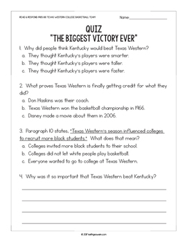 FREE Reading Passage: 1966 Texas Western College Basketball Team (Grades 1-2)