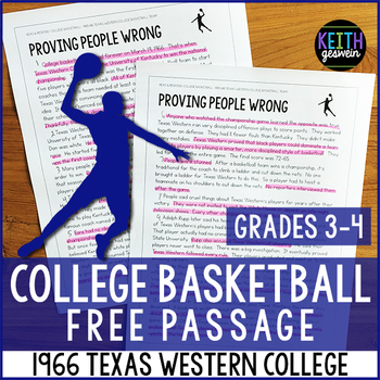 FREE Reading Passage: 1966 Texas Western College Basketball Team (Grades 3-4)