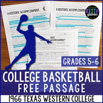 FREE Reading Passage: 1966 Texas Western College Basketball Team (Grades 5-6)