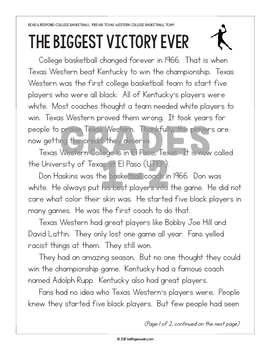 FREE Reading Passages: 1966 Texas Western College Basketball Team (Grades 1-6)